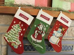 christmas tree crewel stocking pottery barn free monogram