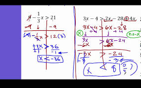 algebra 1 solving inequalities with fraction variable on both