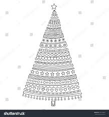 christmas tree hand drawn doodle christmas stock vector 481736803