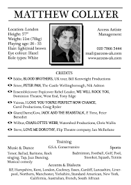 acting resume template sle of acting resume template free resume templates
