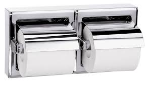 surface mounted hinged hood dual roll toilet tissue dispenser