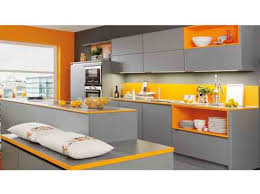 cuisine grise et orange cuisine grise orange ixina déco kitchen deco