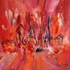 Tableau Abstrait Rouge Et Gris by Tableau Contemporain De Style Abstrait