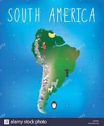A Map Of South America by Map Of South America Showing Famous Landmarks Stock Vector Art