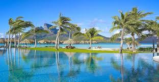 beach beautiful mountains resort grass trees tropical pool sea