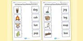 cvc word and picture matching worksheets o cvc matching o