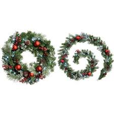 werchristmas 60 cm frosted decorated pre lit wreath illuminated