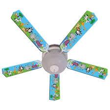 wild animal friends print blades 52in ceiling fan light kit