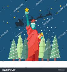 santa statue liberty christmas concept vector stock vector