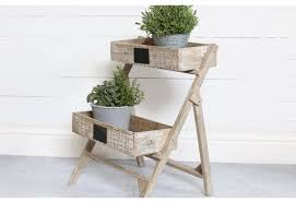Distressed Wood Shelves by Double Tier Wood Planter Stand Wooden Garden Plant Stand