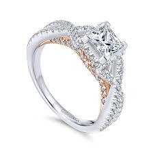 princess cut wedding ring caroline 14k white and gold princess cut twisted engagement