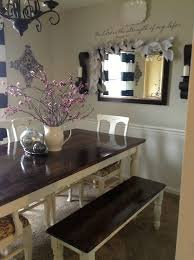 beautiful farm style dining room table and benches with cool white