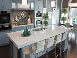 White Kitchen Countertops by Interesting Dark Wood Flooring At Traditional Kitchen Decorated