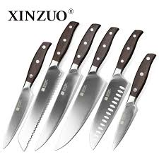 xinzuo kitchen tools 6 pcs kitchen knife set utility cleaver chef