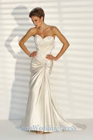 Ivory Wedding Dresses Strapless Satin Handmade Beaded A Line Train Ivory Wedding Gowns