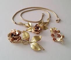 rose flower necklace images Krementz 14kt gold filled rose flower necklace brooch and earrings jpg