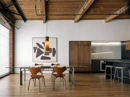 Modern Wood Dining Set Design Spacious Loft Dining Room Furniture Design With Wooden Ceiling And