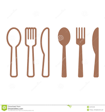dining silverware flat icon set with spoon knife and fork stock