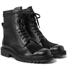boots hair dries noten calf hair trimmed pebble grain leather kiltie