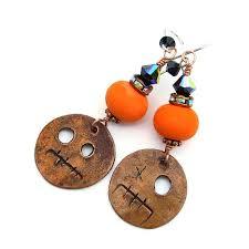 halloween goblin earrings orange and black handmade jewelry for