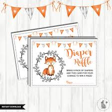 fox diaper raffle printable woodland baby shower forest
