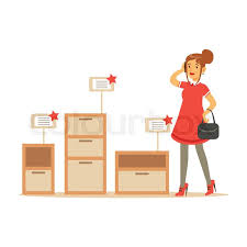 woman choosing a night stand with drawer smiling shopper in