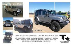 jeep wrangler unlimited wheel and tire packages before and after tough rigs jeep
