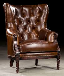 High Back Leather Armchair Library Chair Leather Tufted High Back 97