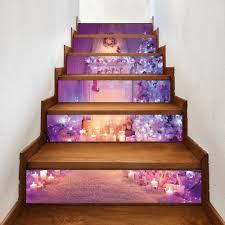 christmas fireplace tree pattern stair stickers light purple cm