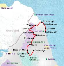 map of rothbury reivers way self guided walking holidays