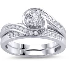 white gold wedding band sets 1 3 carat t w diamond bypass ring bridal set in 10kt white gold