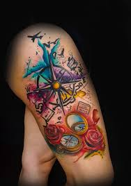 Oklahoma Travel Tattoos images Water color tattoo compass tattoo girl tattoo travel tattoo jpg