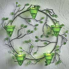Votive Wall Sconce Wall Sconce 5 Votive Candle Holder Round Metal Wreath Green Glass