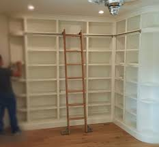 custom built in bookshelves home libraries wood with ladder by