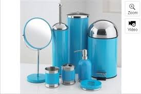 8 piece bathroom accessories set blue amazon co uk kitchen u0026 home