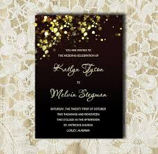 Wedding Inserts Black And Gold Wedding Invitation Gold Sparkles Bubbles