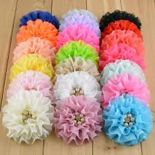 flowers for headbands 3 5 chiffon pearl flower baby headband accessories pearl