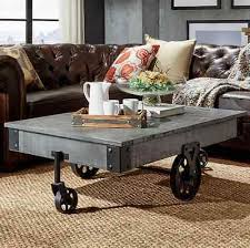 Rustic Coffee Table With Wheels Vintage Rustic Wood Factory Cart Wheels Cocktail Coffee Table