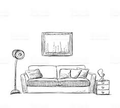 Living Room Clipart Black And White Room Interior Sketch Hand Drawn Sofa Stock Vector Art 531694898