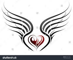 tattoo design heart shape wings stock vector 635571800 shutterstock
