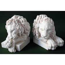 marble lions pair of marble canova lion bookends replicas of ancient
