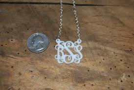 acrylic monogram necklace acrylic cut out script monogram necklace