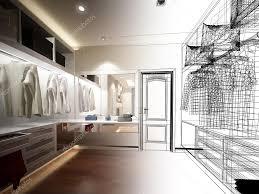 abstract sketch design of interior walk in closet u2014 stock photo