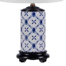 small blue white trellis porcelain lamp