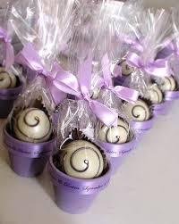 purple wedding favors chocolate wedding truffles in a flower pot truffle blue ribbon
