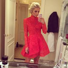 2015 winter red lace homecoming dresses high neck long sleeve