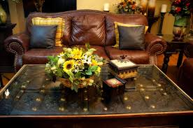 coffee table floral arrangements square brown wooden coffee table with glass table top and yellow sun