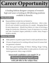 Best Resume Format For Garment Merchandiser by Job Opportunities In Fashion Designer Company Karachi 18 June 2017