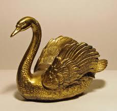 vintage brass swan pm craftsman brass swan paperweight