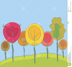 cute trees cute seasonal background with trees royalty free stock photography